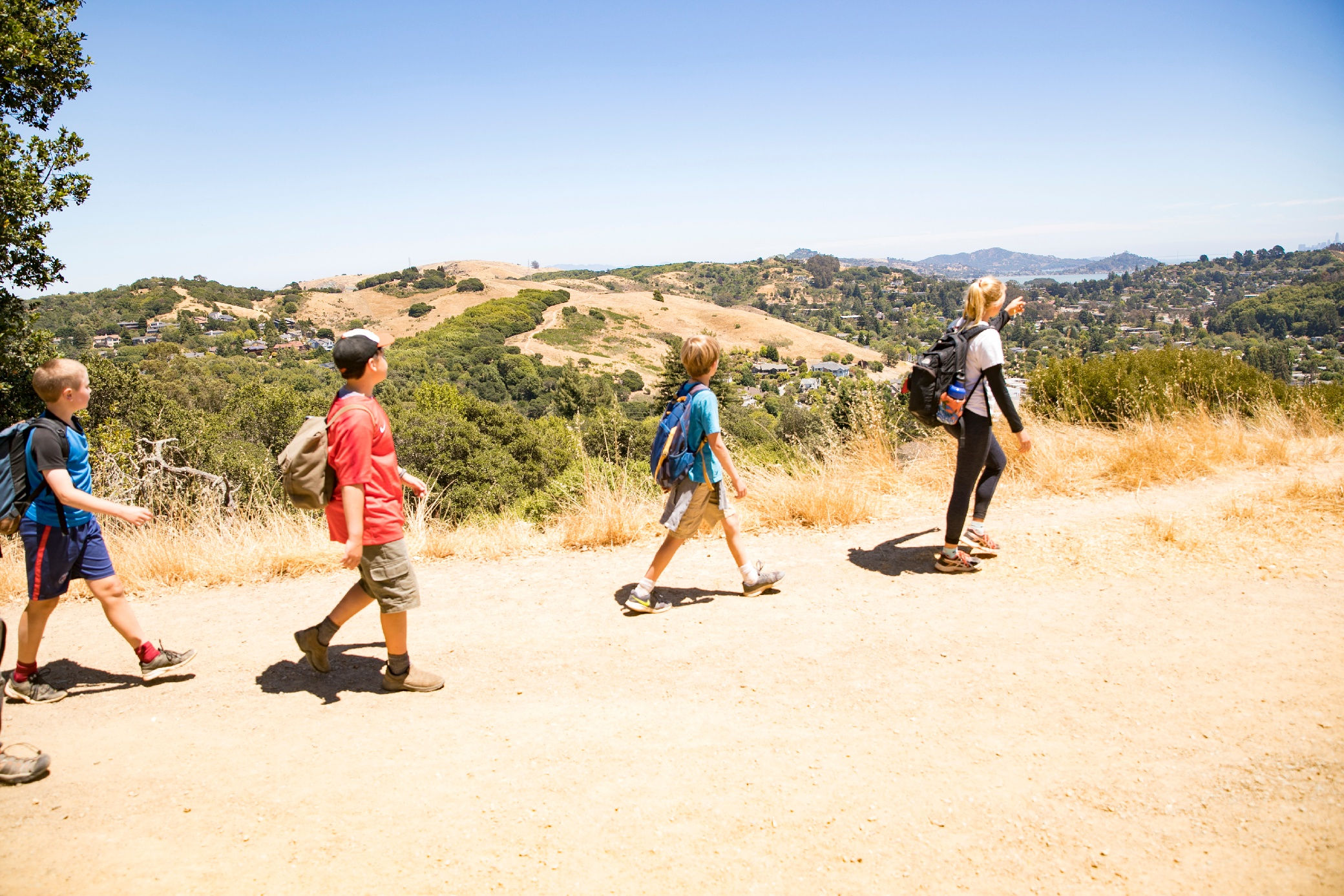 kids hiking in Mill Valley, California