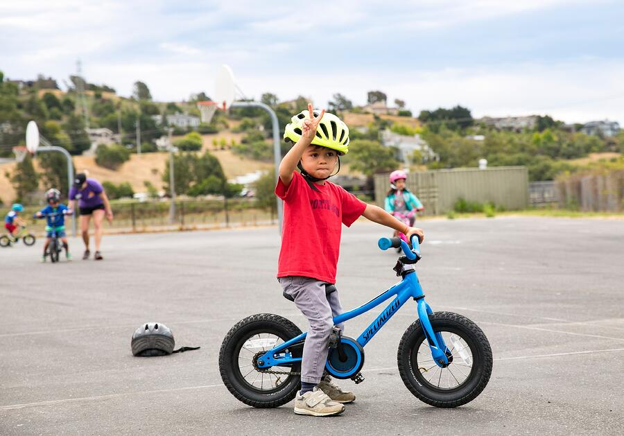 kids learning to bike in the Bay Area of California