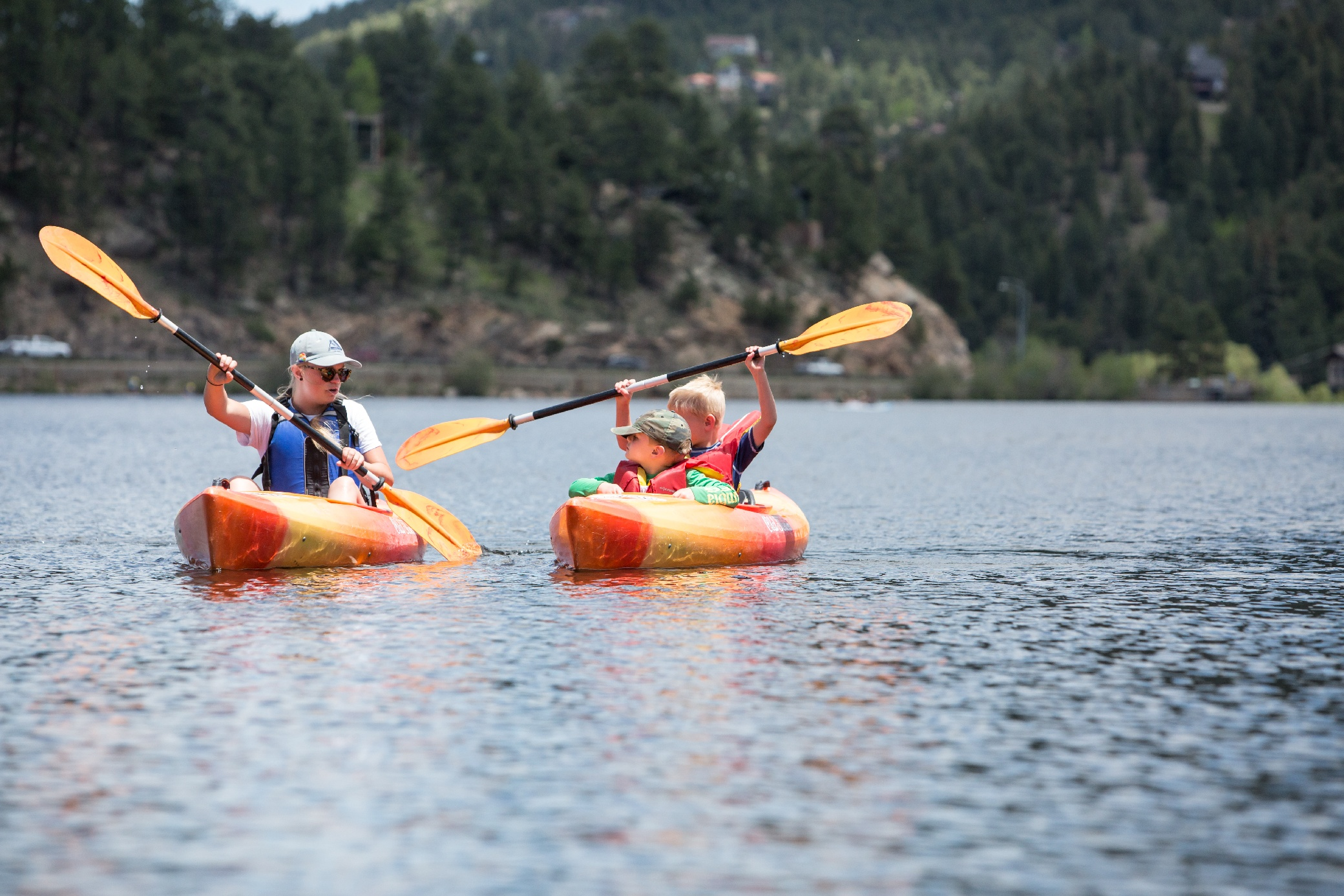 kids kayaking summer camp