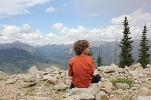 mountain hiking kid