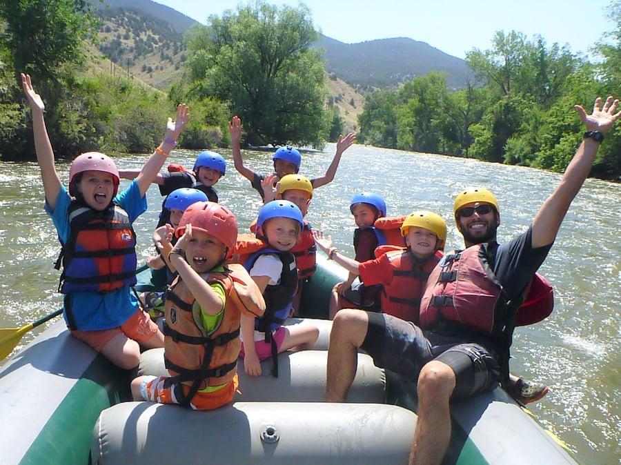 Kids having a blast whitewater rafting